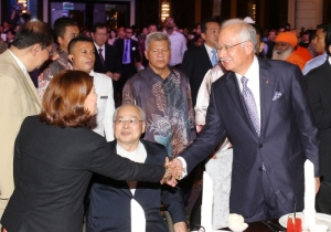 KUALA LUMPUR 02 June 2015. Prime Minister, Datuk Seri Najib Tun Razak accompany by Chairman of Christians for Peace and Harmony in Malaysia (CPHM), Wong Kim Kong (c) attend the National Peace & Harmony Banquet And The Launching of the CPHM at Majestic Hotel. NSTP/Yazit Razali